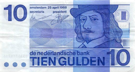 Frans Hals afgebeeld op een 10 gulden biljet