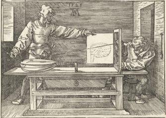 Een kunstenaar tekent een luit, door Albrecht Durer, 1525, print, gravure.