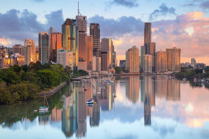 De skyline van Brisbane, Australië