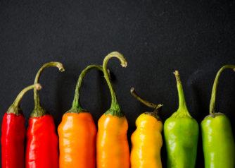 Rode, gele en groene pepertjes ter illustratie van het energielabel voor woningen